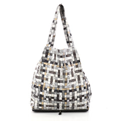 Hermes Silky Pop Tote Printed Silk Gray 3010408