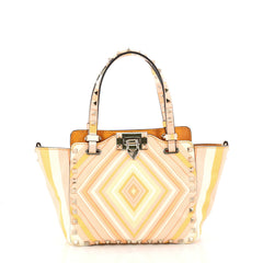 Valentino Rockstud 1975 Tote Striped Leather Mini Pink 3011803