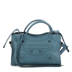 Balenciaga Blackout City AJ Handbag Leather Mini Blue 3013001