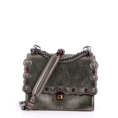 Fendi Kan I Handbag Studded Leather Small Silver 3015803