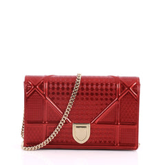 Christian Dior Diorama Wallet on Chain Cannage Embossed Red 3017201