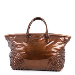 Bottega Veneta Open Tote Patent with Intrecciato Detail Brown 3028302