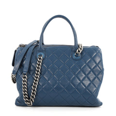 Chanel Boy Chained Tote Quilted Calfskin Medium Blue 3028501