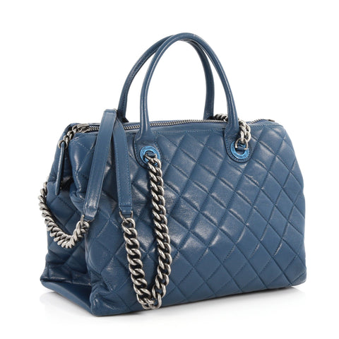 Buy Chanel Boy Chained Tote Quilted Calfskin Medium Blue