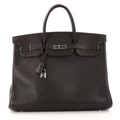 Hermes Birkin Handbag Brown Clemence with Palladium 3033501