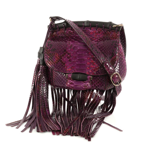 65752be2f3fc Buy Gucci Nouveau Fringe Crossbody Bag Python Small Purple 3039201 – Rebag
