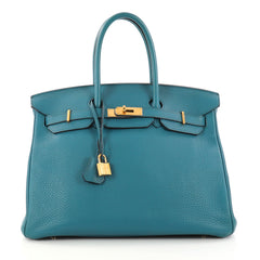 Hermes Birkin Handbag Blue Togo With Gold Hardware 35 Blue 3045402