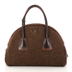Prada Vichy Vintage Bowler Bag Tweed Large Brown 3045503