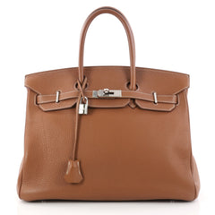 Hermes Birkin Handbag Brown Clemence with Palladium 3048301