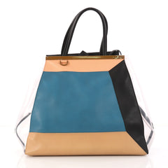 Fendi Color Block 2Jours Handbag Leather and PVC Large Blue 3052102