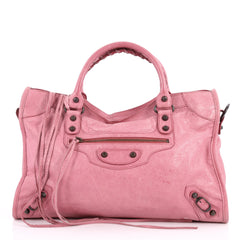 Balenciaga City Classic Studs Handbag Leather Medium Pink 3052502