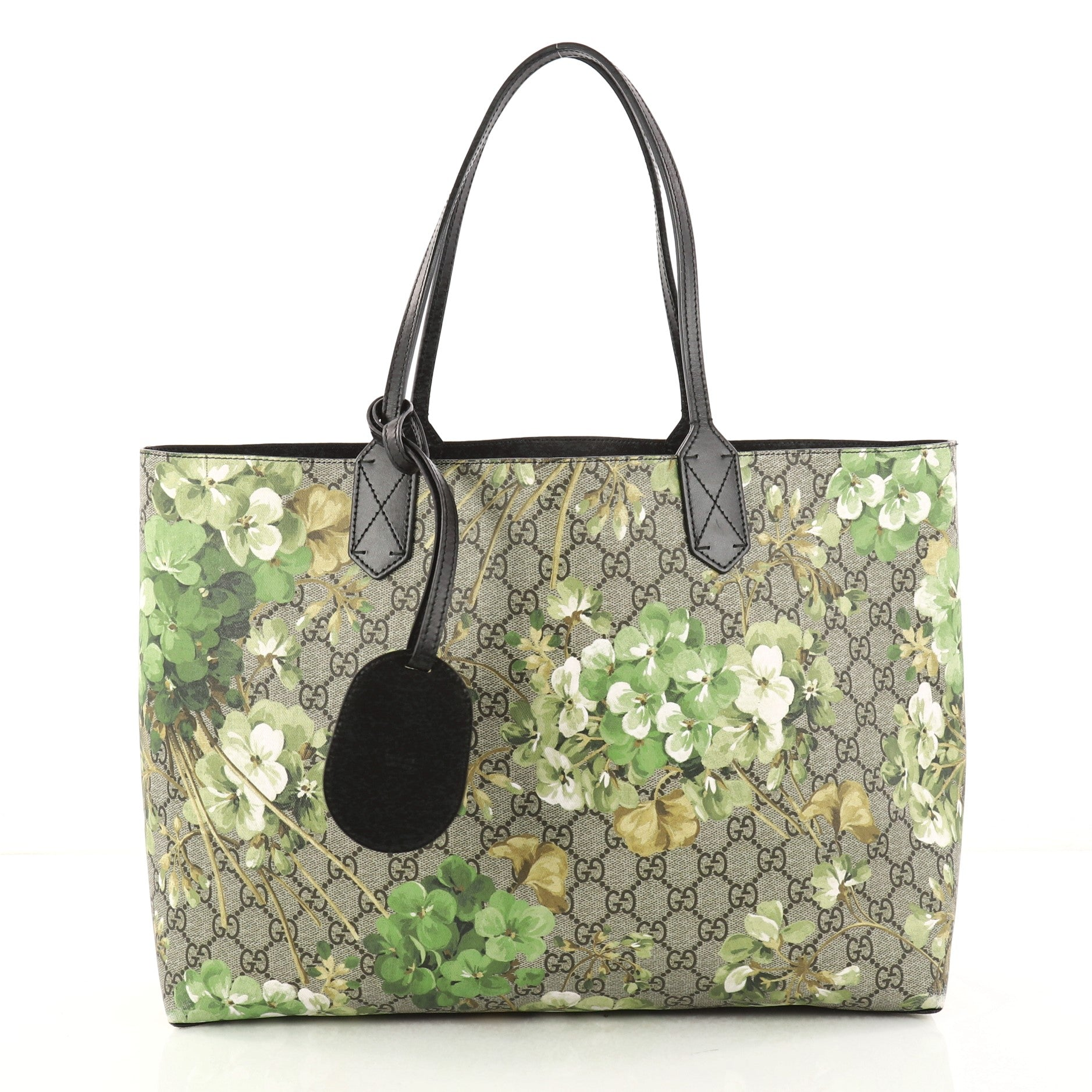 Reversible Tote Blooms GG Print Leather Medium