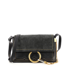 Chloe Faye Shoulder Bag Studded Leather and Suede Small 3053801
