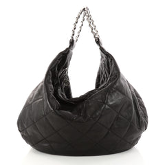 Chanel Vintage Chain Ring Handle Hobo Quilted Leather Large Black 3055201