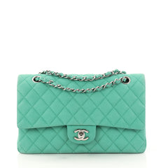 Chanel Classic Double Flap Bag Quilted Matte Caviar Medium Green 3055802