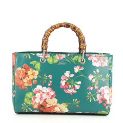 Gucci Bamboo Shopper Tote Blooms Print Leather Medium 3058501