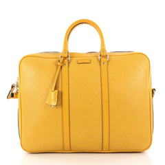Gucci Bright Convertible Briefcase Diamante Leather Large Yellow 3064203