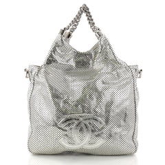 Chanel Rodeo Drive Hobo Perforated Leather Small Silver 3071501