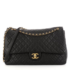 Chanel Airlines CC Flap Bag Quilted Calfskin XXL Black 3073304
