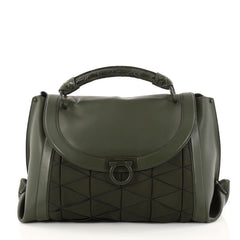 Salvatore Ferragamo Soft Sofia Satchel Woven Grosgrain with Leather and Crocodile Medium Green 3078101
