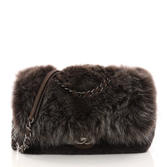 Chanel Chain Zip CC Flap Bag Fur and Quilted Lambskin 3078902