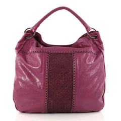 Bottega Veneta Hobo Leather with Grommet Detail Large Purple 3080704