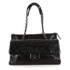 Chanel Ritz Flap Bag Quilted Patent Large Black 3081201 0747dffb29f7a