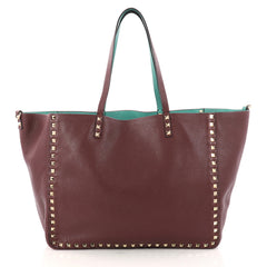 Valentino Rockstud Reversible Convertible Tote Leather Medium Red 3081301