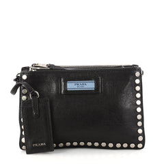 Prada Etiquette Crossbody Bag Studded Glace Calfskin Small Black 3081303