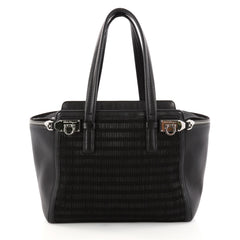 Salvatore Ferragamo Verve Tote Woven Fabric Medium Black 3083404