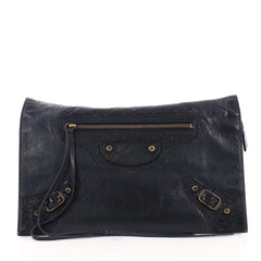 Balenciaga Papier View Clutch Leather Blue 3088801