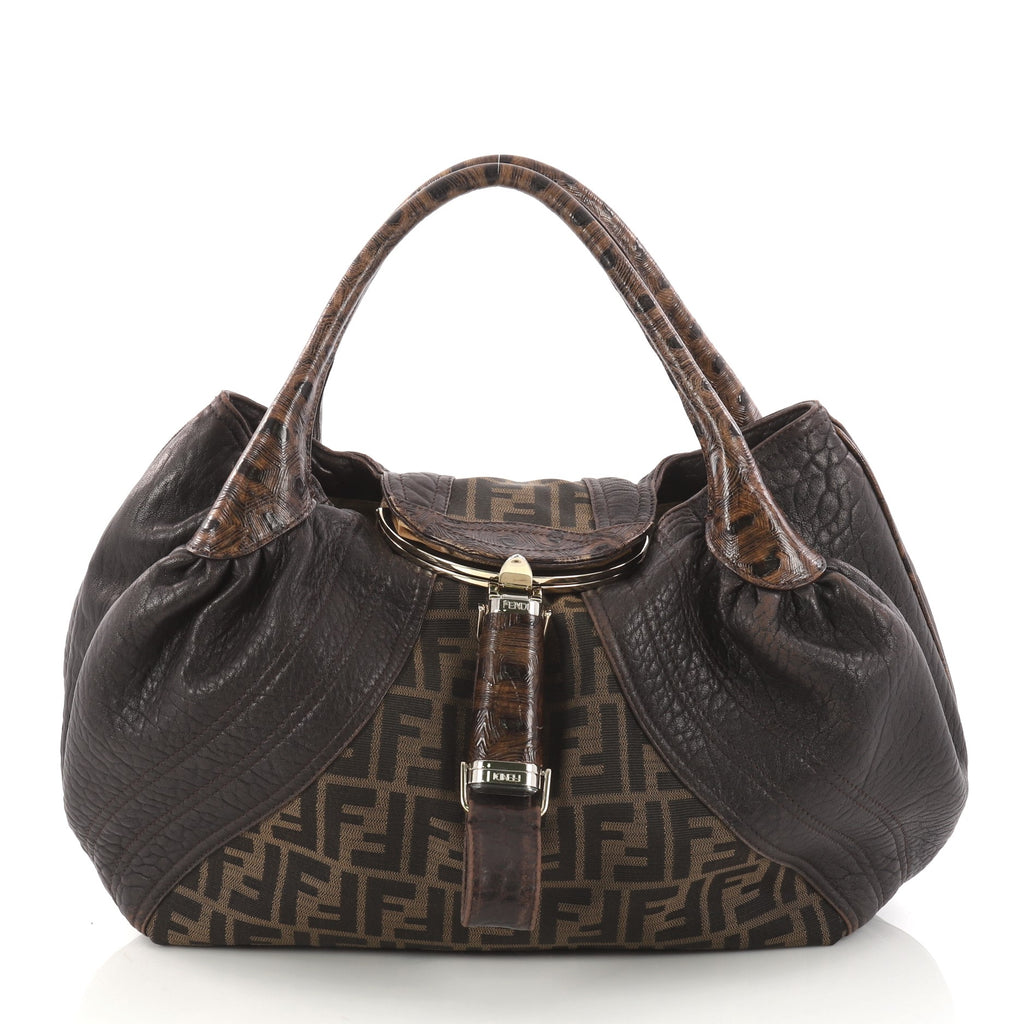 Fendi Tortoise Spy Bag Zucca Canvas And Leather eWdFzS7R