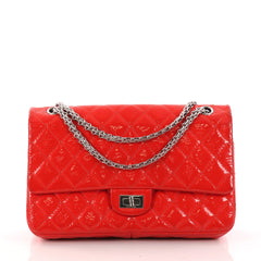 Chanel Reissue 2.55 Handbag Quilted Crinkled Patent 225 Red 3090502