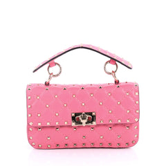 Valentino Rockstud Spike Flap Bag Quilted Leather Small Pink 3091003