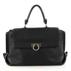 Salvatore Ferragamo Sofia Satchel Pebbled Leather Medium 3091201