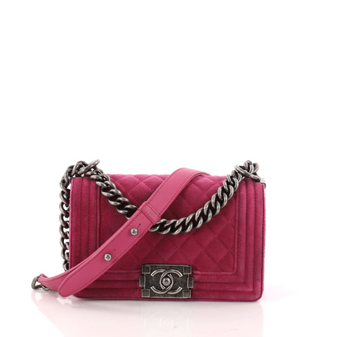 8282d4c08a35 Buy Chanel Boy Flap Bag Quilted Velvet Small Pink 3095201 – Rebag