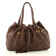 Prada Drawstring Tassel Tote Cervo Leather Brown 3103601