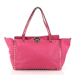 Valentino Rockstud Tote Soft Leather Medium Pink 3104108
