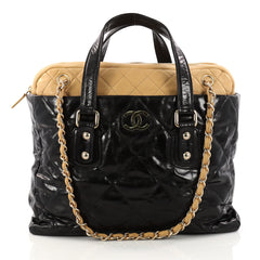 Chanel Portobello Zip Tote Quilted Glazed Calfskin Medium Black 3104201