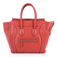 Celine Luggage Handbag Grainy Leather Micro Red 3109701