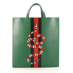 Gucci Web and Snake Convertible Soft Open Tote Printed Leather Tall 3110301