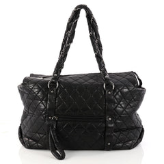 Chanel Ligne Lady Braid Tote Quilted Distressed Lambskin XL Black 3114802
