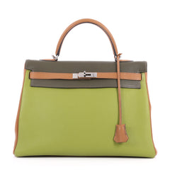 Hermes Kelly Handbag Tricolor Togo with Ruthenium 3116401