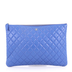 Chanel O Case Clutch Quilted Lambskin Large Blue 3120901