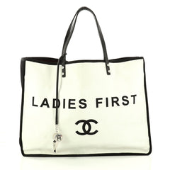Chanel Let's Demonstrate Tote Canvas Large White 3124501
