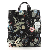 Gucci G-Active Knight Tote Flora Canvas Tall Black 3125401