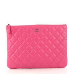 Chanel O Case Clutch Quilted Caviar Medium Pink 3125902
