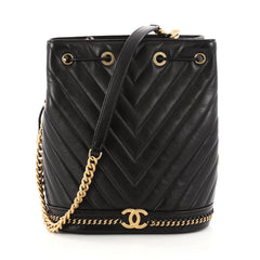 Chanel Paris Cosmopolite Drawstring Bucket Bag Chevron 3126101