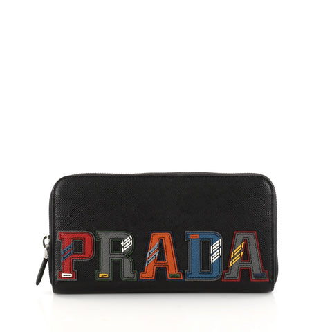c9f0ad32f00475 Buy Prada Patches Zip Wallet Saffiano Leather Black 3128002 – Rebag