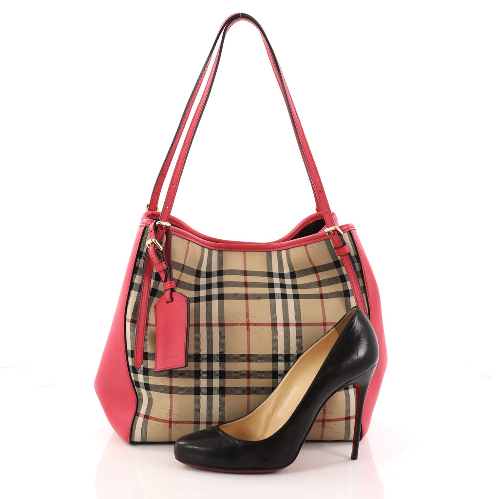 10be342a585c Buy Burberry Canterbury Tote Horseferry Check Canvas and 3128401 – Rebag